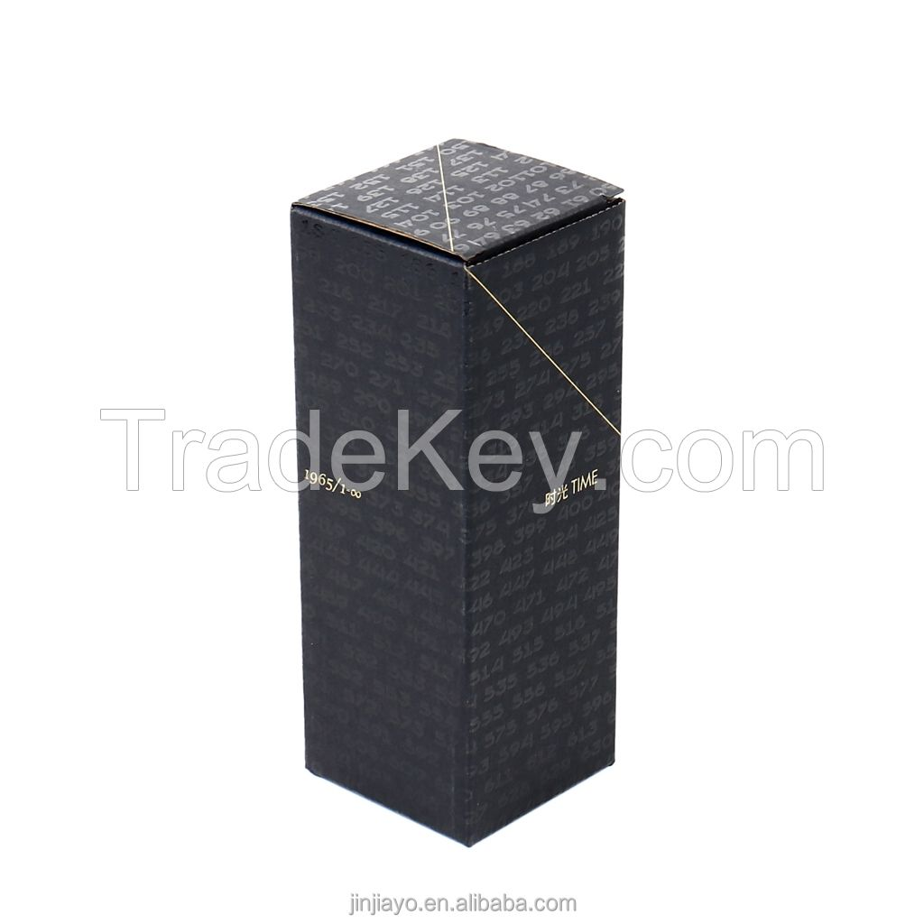 Jinayon Custom Logo Black Corrugated Paper Box for Cosmetic Packaging Perfume Craft paper Spot UV Foil Hot Stamping Finish