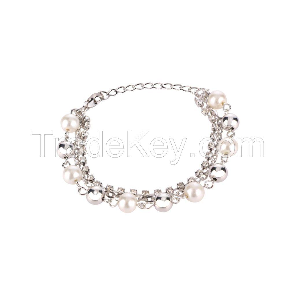 Crystal CZ Pearl Rhodium Tone Adjustable Layered Charm Strand Bracelet Jewelry for Women Girls Brides Bridesmaid
