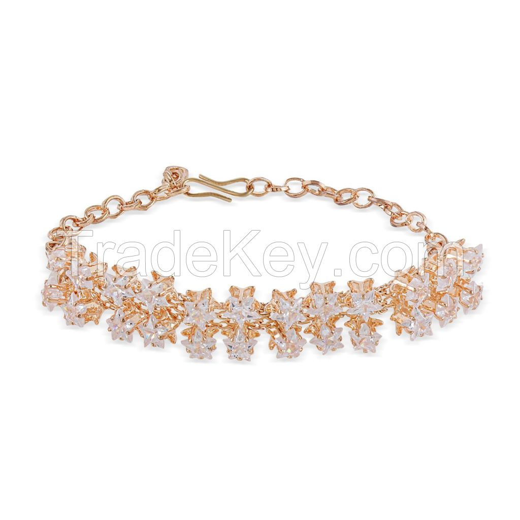 Crystal CZ Floral Chain Link Bracelet Jewelry for Women Girls Brides Bridesmaid