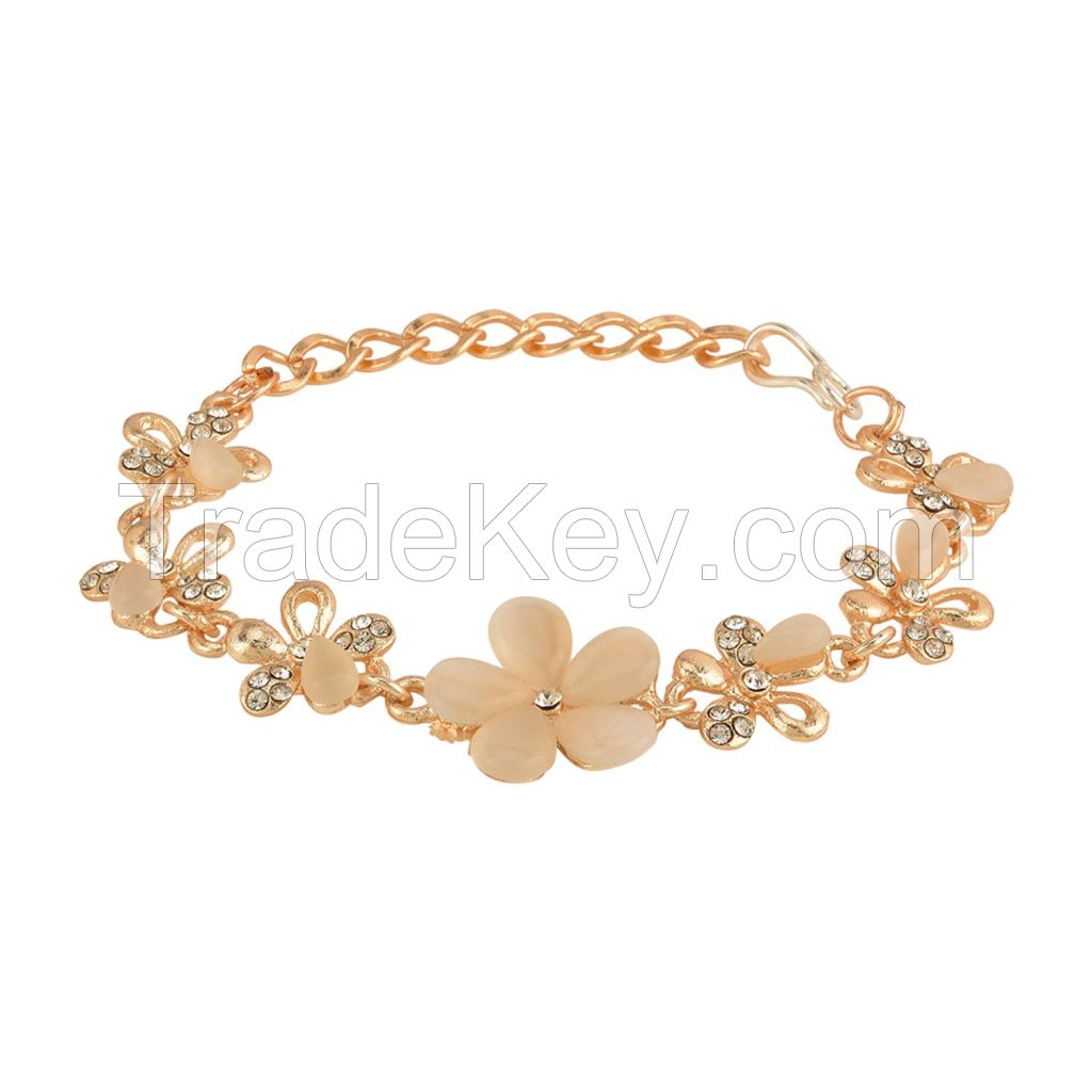 Crystal CZ Bolo Floral Adjustable Charm Bracelet Jewelry for Women Girls Brides Bridesmaid
