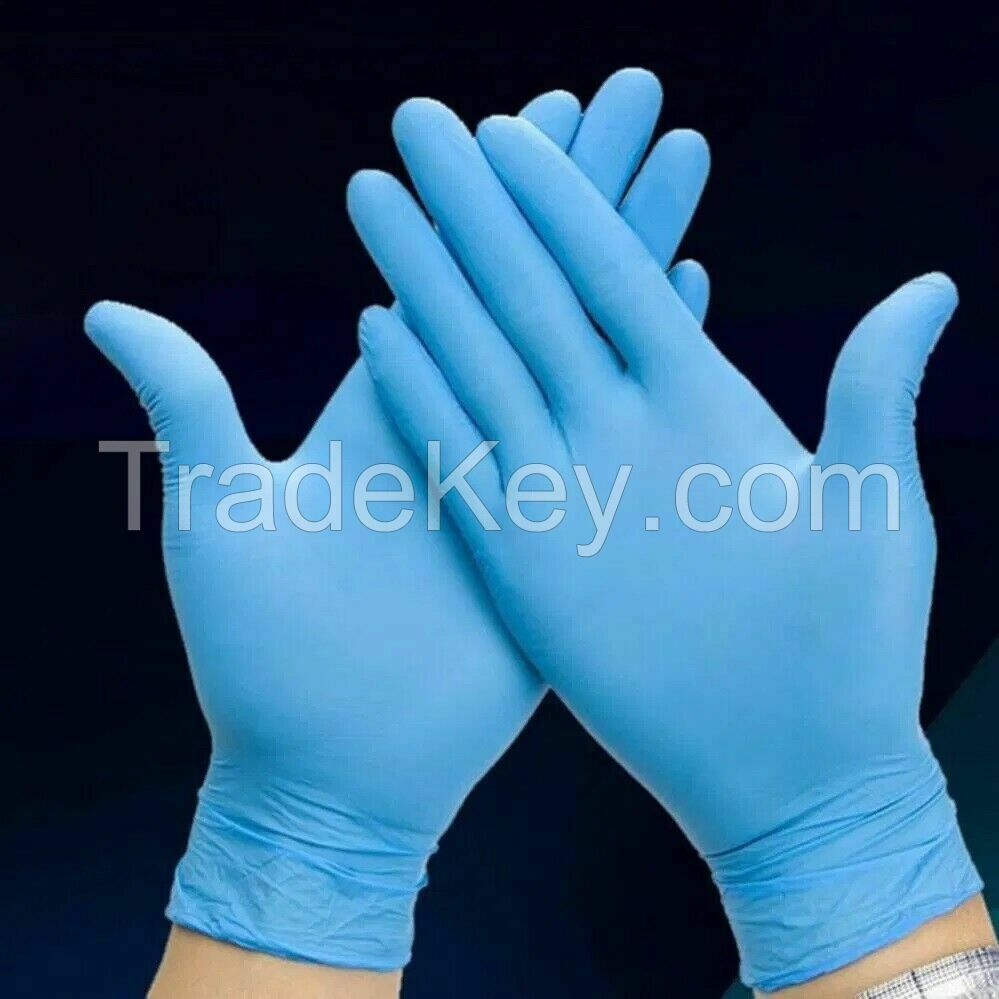 100 Pcs Nitrile Blue Durable Rubber Cleaning Hand Gloves Powder Latex