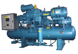 Screw Compressor Unit with Double Compressors and Double Stages