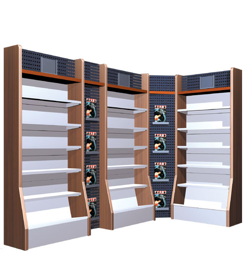 a series of book shelves
