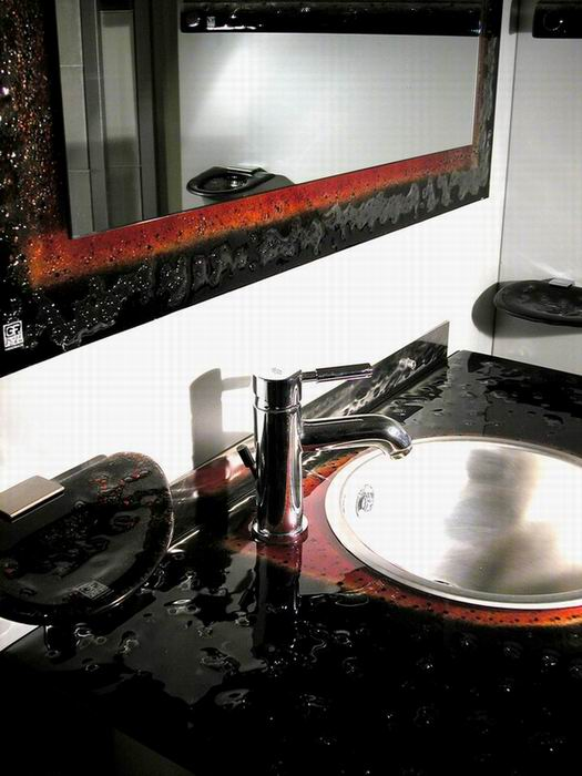 Bathroom Surface from 100% handmade fused glass