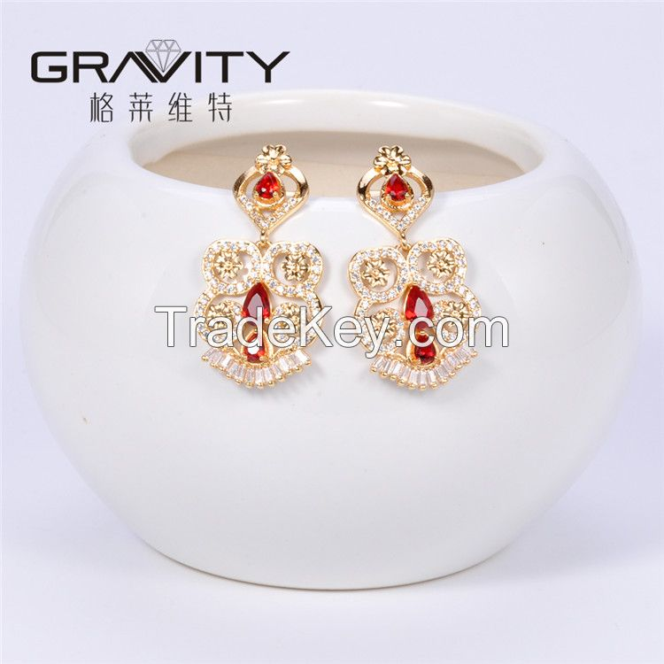 ESDG0040 Gravity 2017 latest top new model designs fashion brass plated 18K gold stud earring