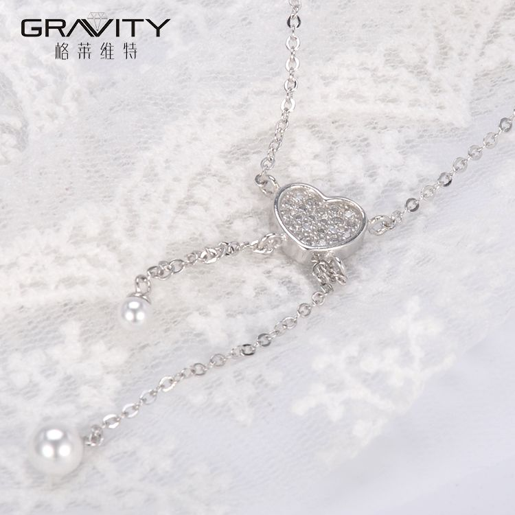 wholesale initial guangzhou female love fashion handwork long imitation simple silver jewelry pendant chain necklace