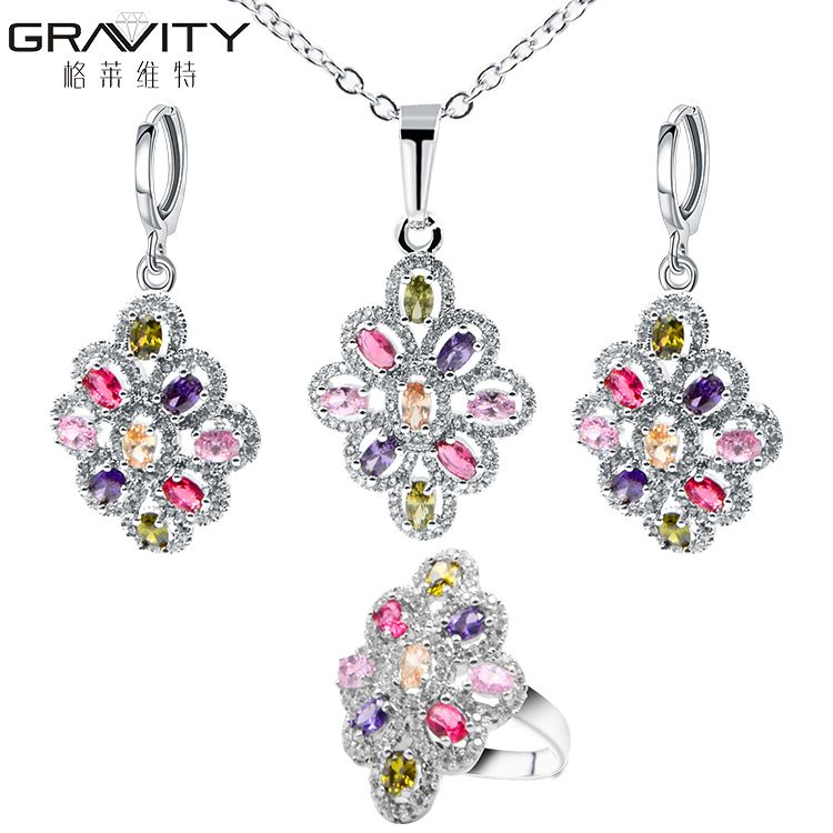 stylish custom gemstone sterling silver necklace and earring wedding bridesmaids jewelry sets for girls