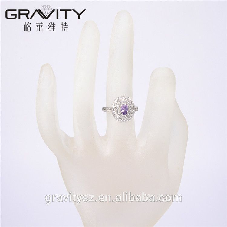 2017 Custom Made Fashion Gift Engagement Jewelry Rhodiumcolor gemstone Finger Rings With Zicron Diamond