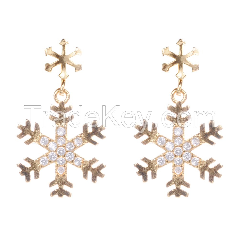 2017 wholesale 18k gold earrings jewelry set latest design of zircon pendant earrings for women