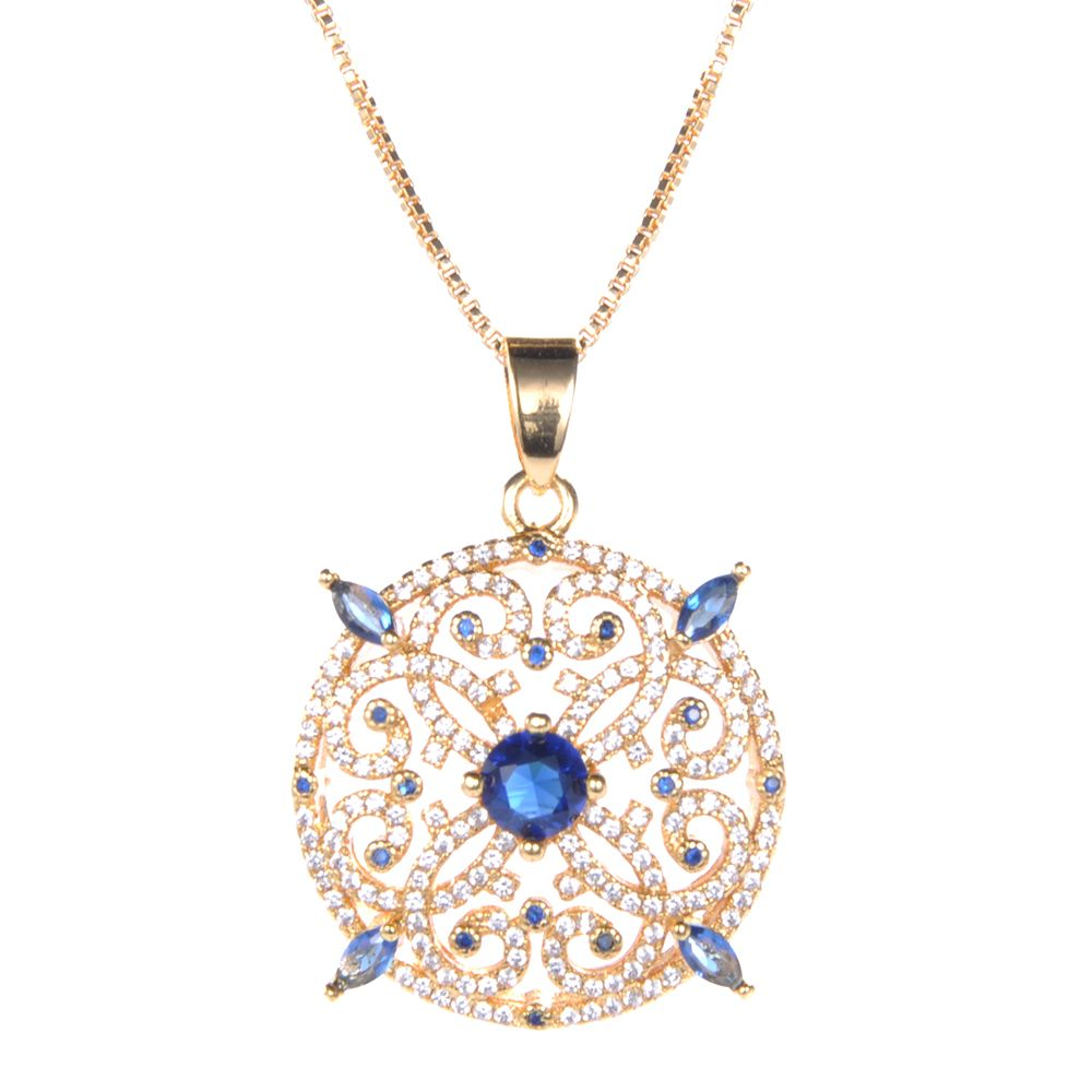 Wholesale Latest fashion style pendants set contains blue zircon 14K gold plated jewelery necklace