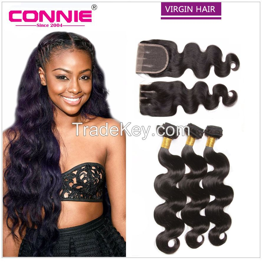 Brazilian virgin hair body wave with lace closure