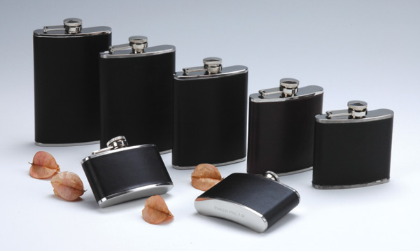 hip flask with leather