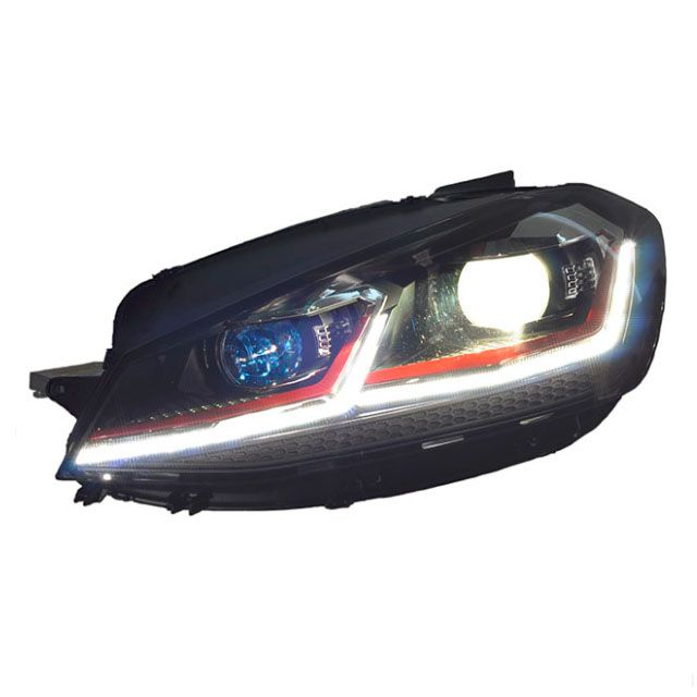 GTI style red stripe Golf mk7.5 LED headlight