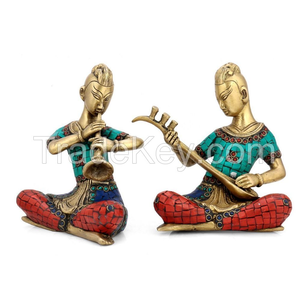 Customized Sculpture Brass Musician Set Sculpture with Turquoise Coral stone set of Wall Decoration and gift