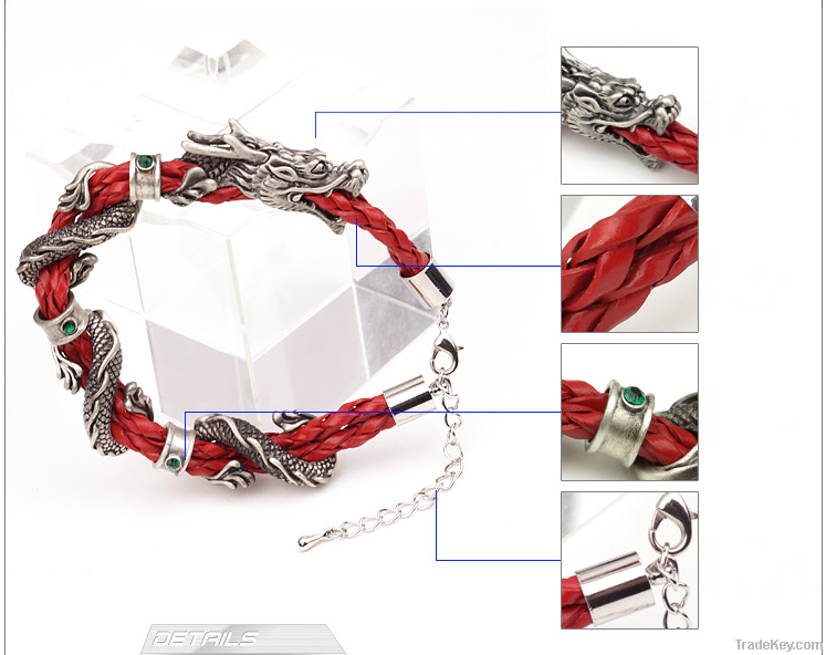 Flying Dragon Man Real Leather Antique Silver Bracelets B13