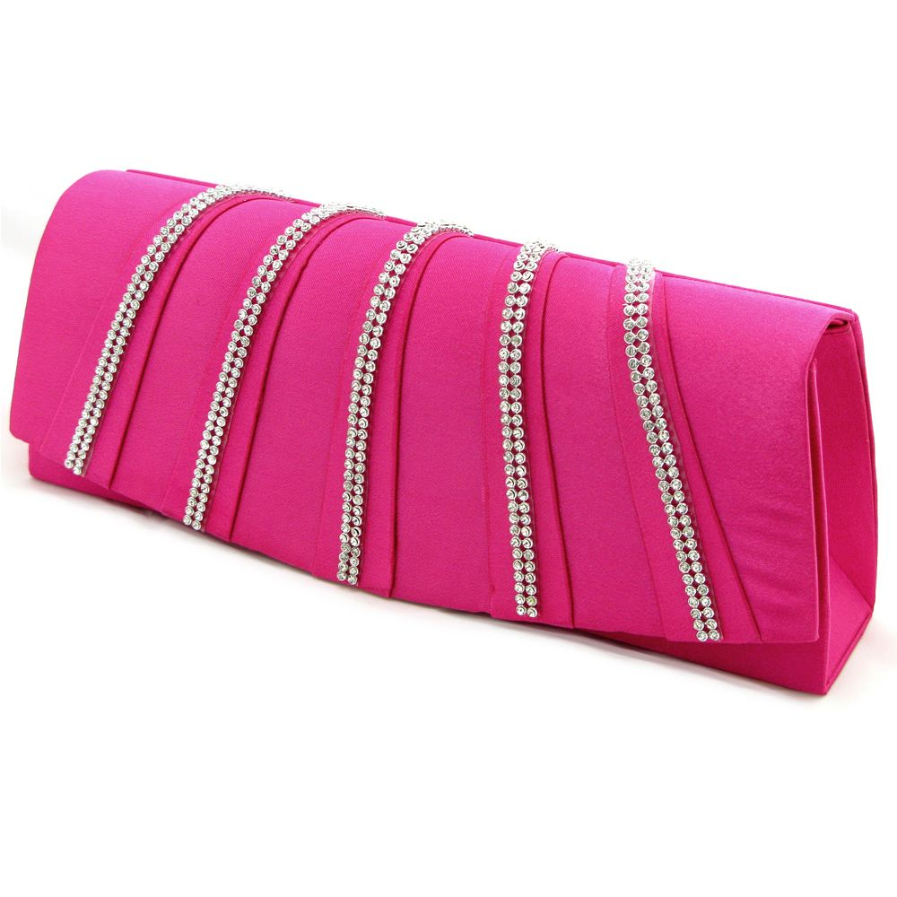 Diamante lace trim small structured satin Clutch bag