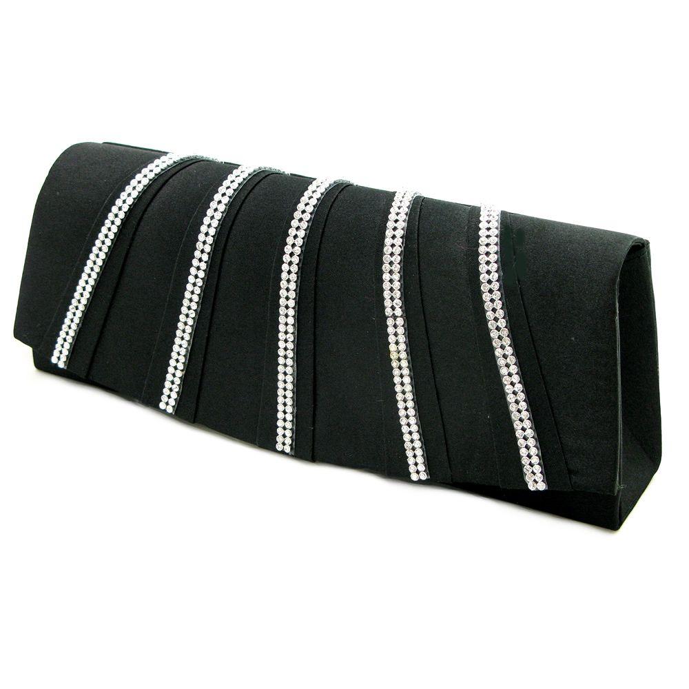 Diamante lace trim small structured satin Clutch bag