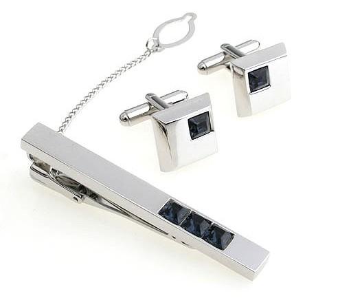 Shiny Cufflinks and Tie Clips Set