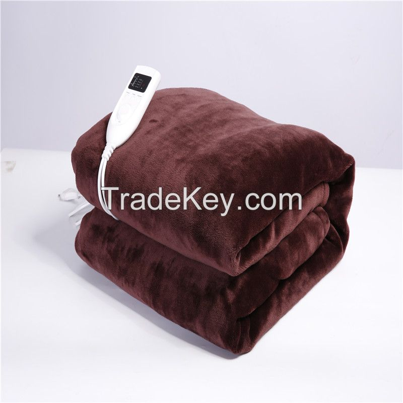 Flannel/ Polyester Electric heated blanket, throw blanket