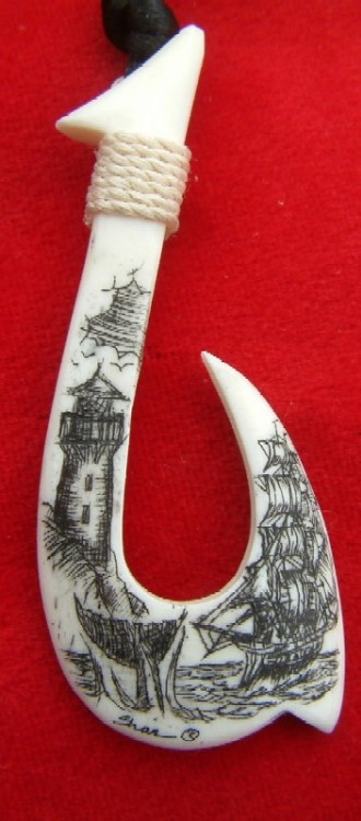 Original Scrimshaw Fish Hook Pendants