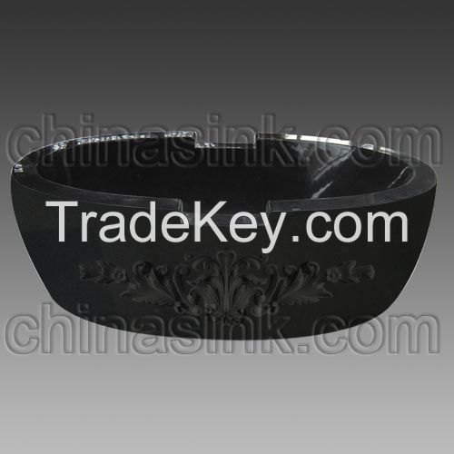 Absolute Black Granite Carved Bathtub