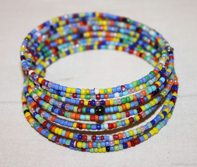 MAASAI BEADED COIL SPRING BRACELET BANGLE