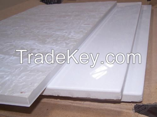 white composite or laminated crystallized glass (micro-crystal stone) tile