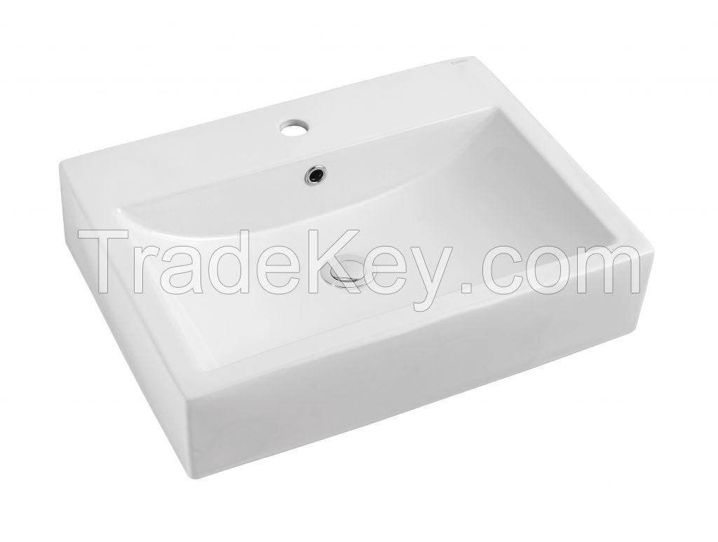 Single Hole with overflow Rectanglar Art Basin Lavatory Sink