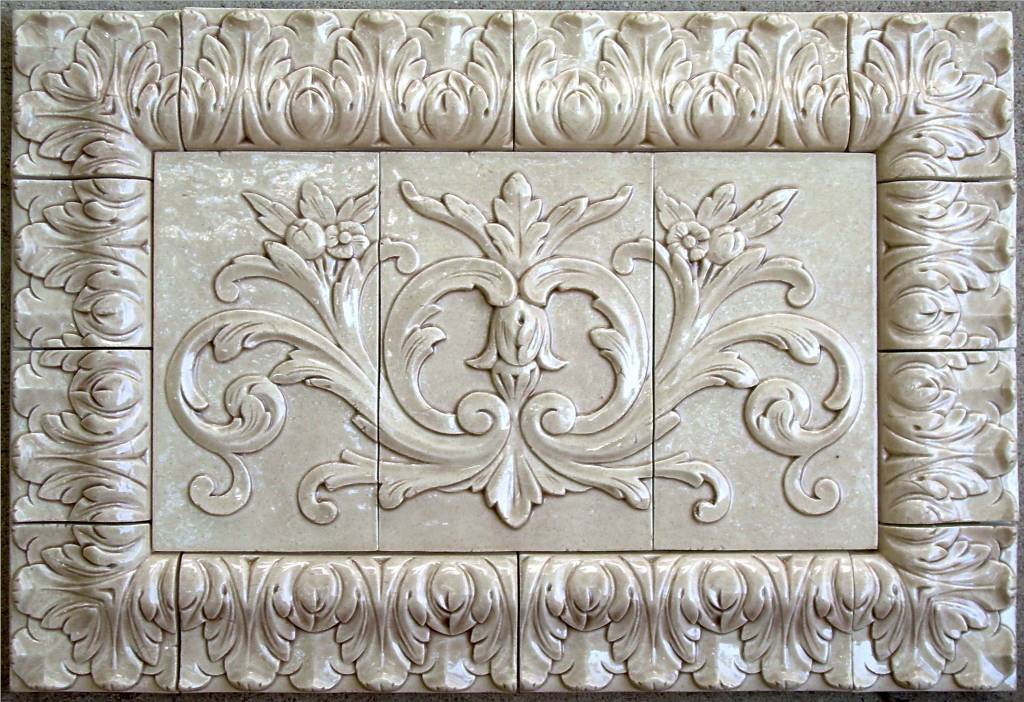 Floral Tile with Acanthus Frame