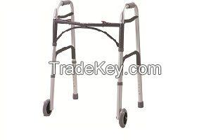 Adults Folding Walker with Wheels, Two Wheel Folding Walker