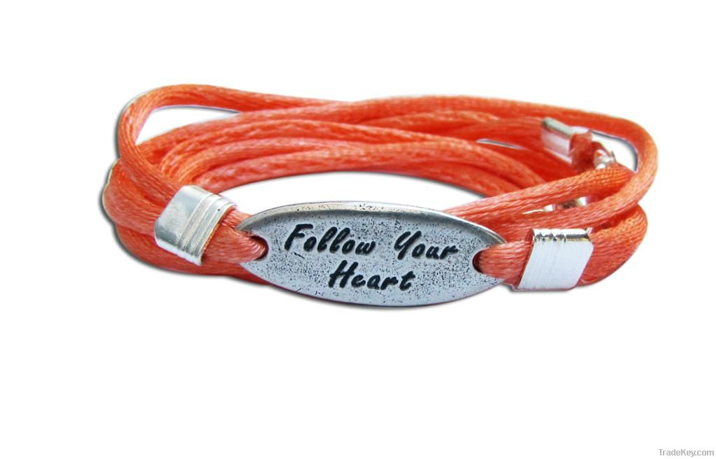 Silver friendship wrap bracelet