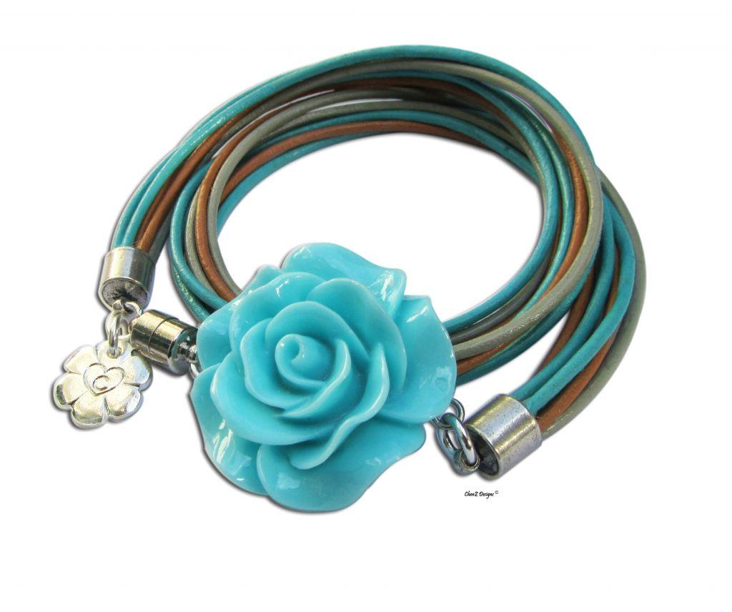 gold charms leather wrap bracelet