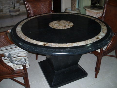 Marble table tops and bases