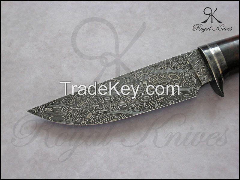 CUSTOM 100% HAND MADE DAMASCUS STEEL KNIFE WITH DESERT IRONWOOD BURL HANDEL