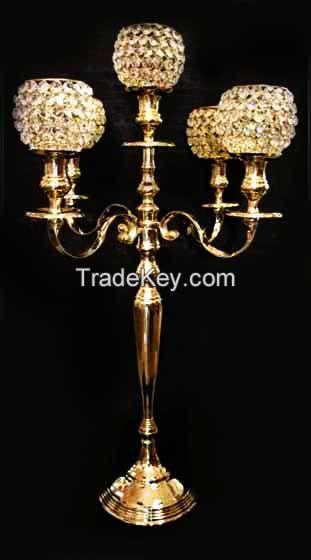 crystal ball candelabra candle holder