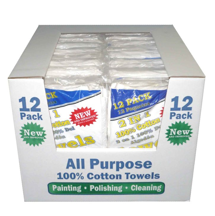 2 IN 1 Cotton/Terry Towel, 12 pack
