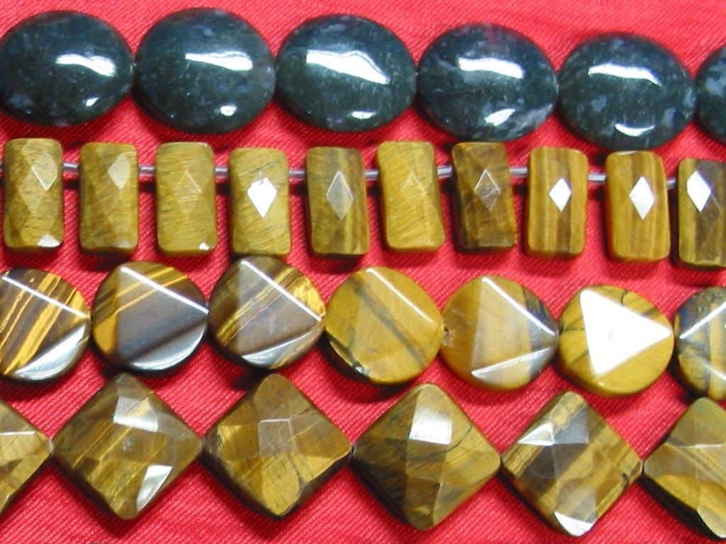 Semiprecious stone beads, Moss agate, Brown tiger eye