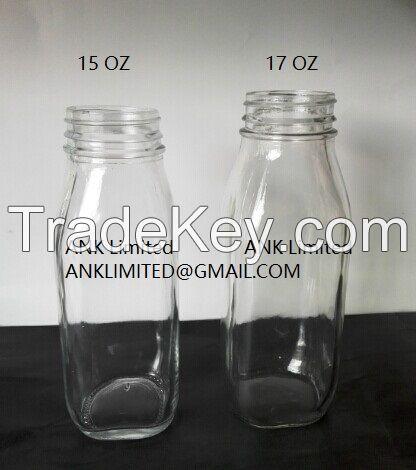 Square Glass Bottle 17oz