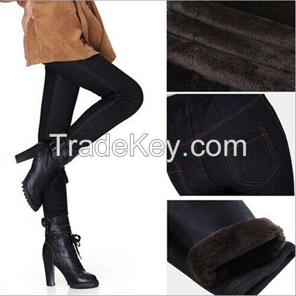 Custom made winter velvet warm Jeans legging