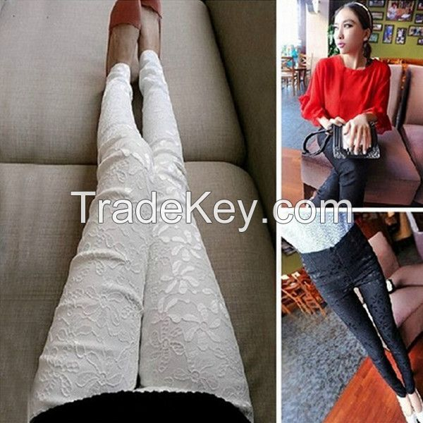 2015 fashion solid micro-transparent slim fit elastic Sexy Lace flower legging