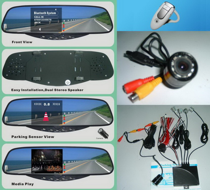Bluetooth mirror handsfree car kit with 3.5 inch TFT monitor