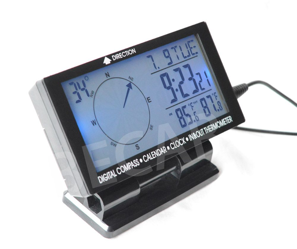 Car digital compass with clock and thermometer