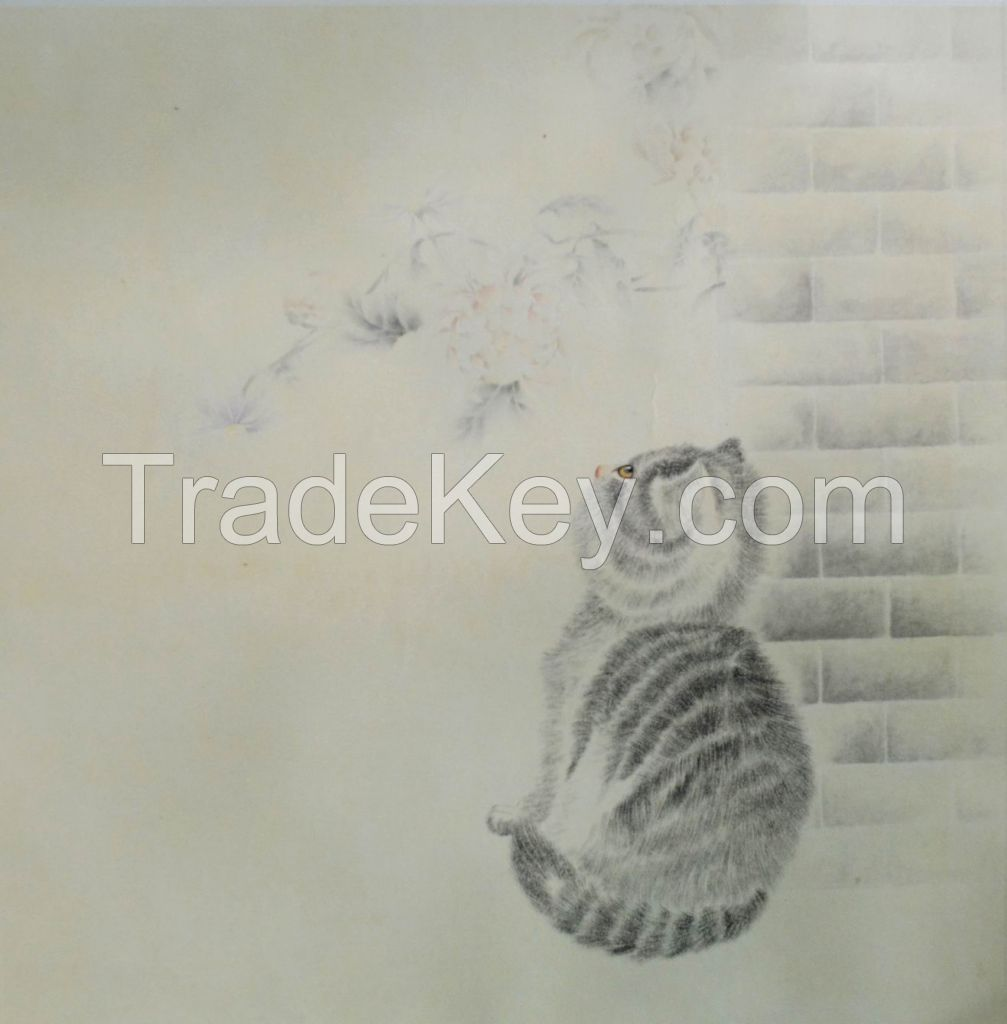Famous artists for Original Oriental Chinese Painting, theme cat, gongbi painting
