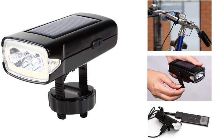 Solar / Dynamo Bike Headlight with USB Charger