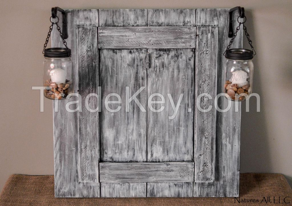 Mason Jar Lantern Decor/Rustic Picture Frame/Country Picture Frame/Rustic Home Decor/Dark Walnut: Item# PLP-4700