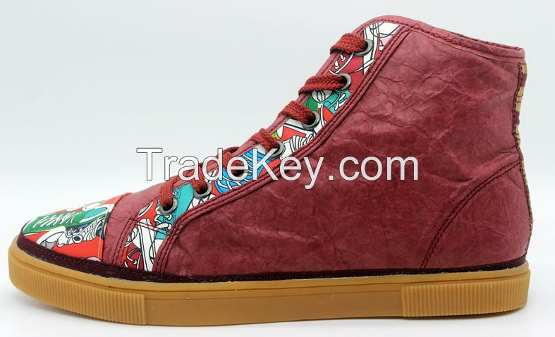 Men's Casual shoes High cutted Fashion shoes in burgundy color