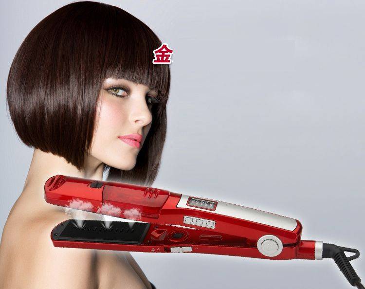 professional red magic shine ionic steam hair straightener flat iron 110V-240V European plug