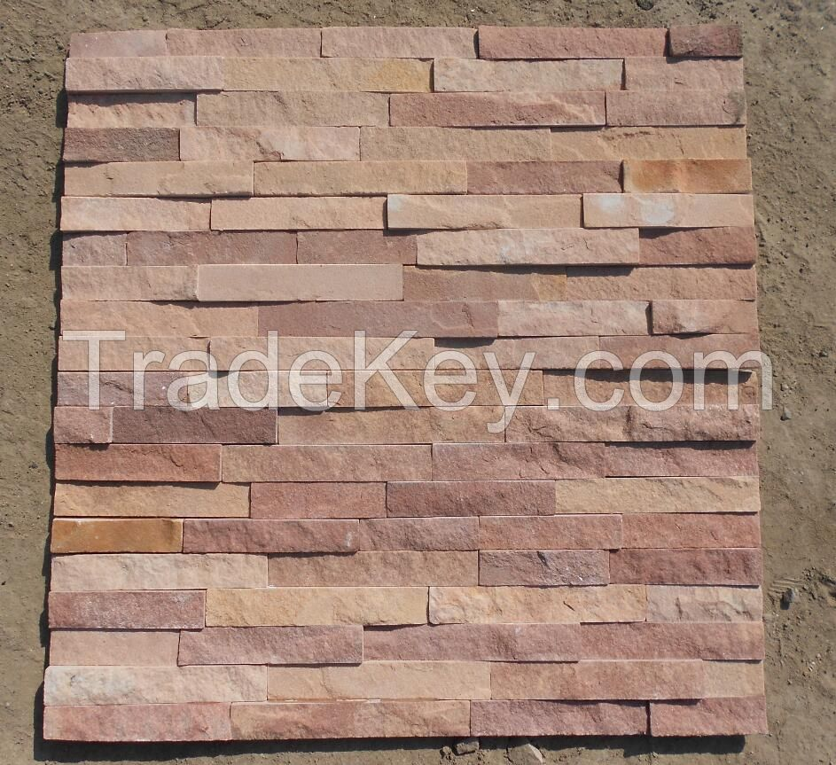 Pink and brown colour combination sandstone Cultured stone wall tile