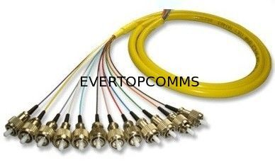12 Cores FC/PC Bunch/Break out Fiber Optic Pigtail Single Mode With High Temperature Stability