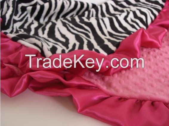 leopard minky with hot pink ruffle blanket